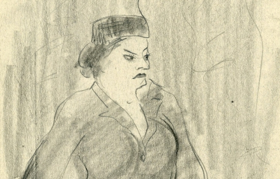 Pencil sketch of a rotund woman in a hat