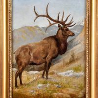 Oil painting of an elk in the wilderness, framed