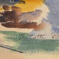 Detail of bottom right corner of watercolor, signed
