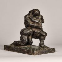 Abstract bronze sculpture of two figures embracing