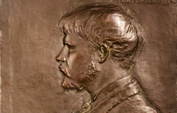 Bronze bas relief of Jules Bastian LePage with paintbrush and palette