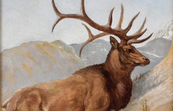 Oil painting of an elk in the wilderness