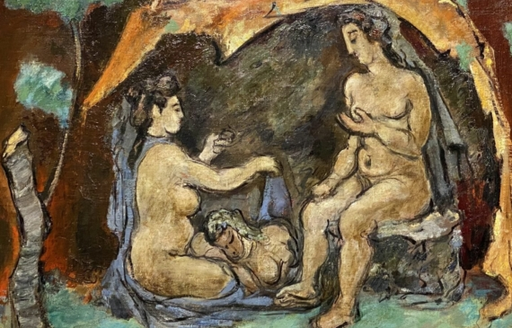 Landscape painting of a woman sitting on a stump, conversing with a woman seated on the ground; the third woman lying down with her head in the other's lap