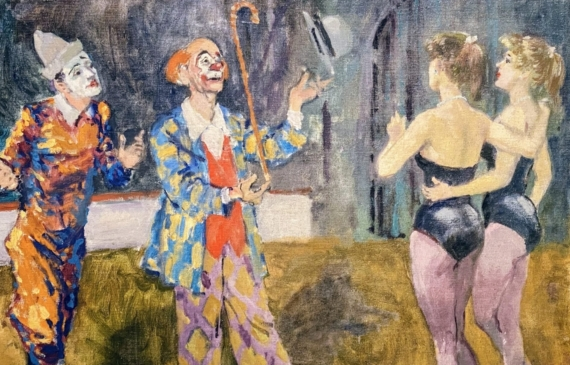 Painting of two clowns and two tight rope walkers at the circus