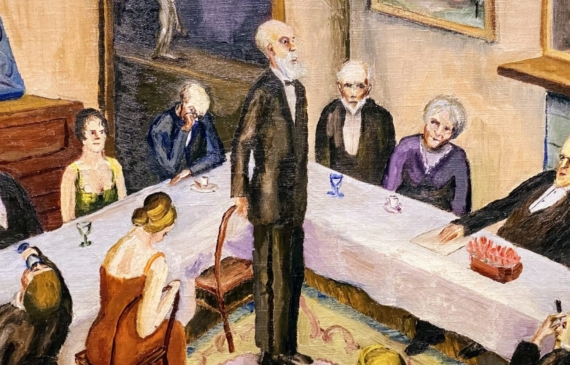 Painting of a dinner party with guests seated around connecting tables, and an older gentleman standing as if giving a speech