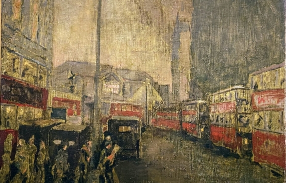 Painting of a city street scene with double decker buses and pedestrians crossing the road