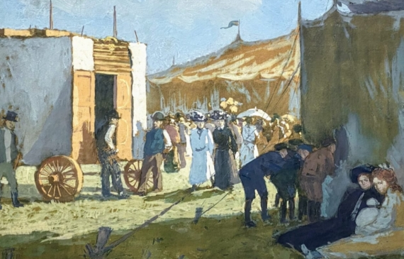 Painting of a crowd at a carnival, with tents and a stagecoach
