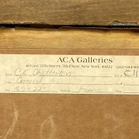 ACA Galleries label on carnival painting verso with gallery and painting information