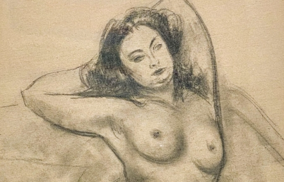 Pencil drawing of a nude womanloungingseductively, framed