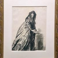 Charcoal drawing of a young woman in a large, puffy cloak leaning her hands on a pedestal, framed