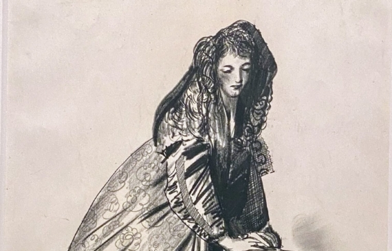 Charcoal drawing of a young woman in a large, puffy cloak leaning her hands on a pedestal