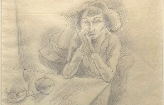 Pencil drawing of a seated woman waiting expectantly at a table with wine and two bowls before her
