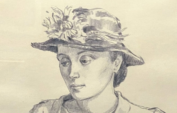 Pencil drawing of a woman in a hat