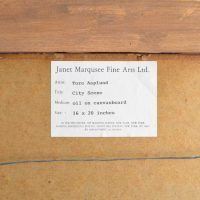 Detail of verso of city painting with Janet Marqusee Fine Arts Ltd. gallery label