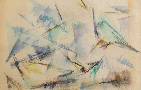 Abstract watercolor of seagulls in a feeding frenzy, with an empty background
