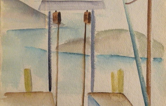 Watercolor of two boat docks with a Davit, boat lowering system, and a winding river in the background