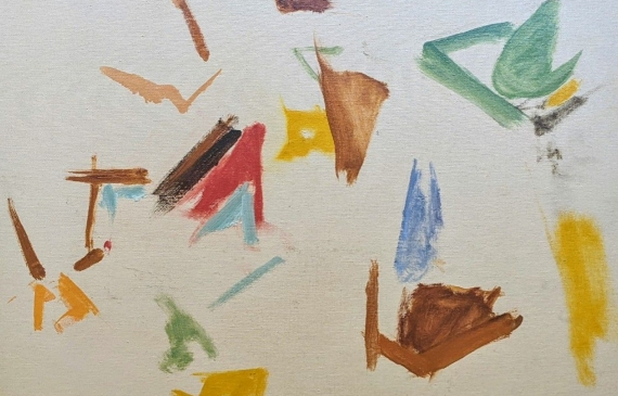 Abstract painting with gestural and sporadic brushstrokes against a blank background