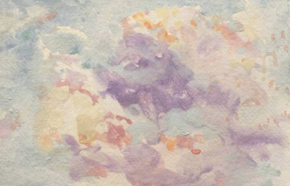 Painting of a cloud filled sky at sunset