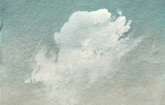 Painting of a single fluffy cumulus cloud against a gradient sky