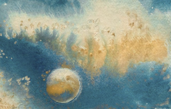 Painting of streaming clouds with a celestial body floating in the bottom left quadrant