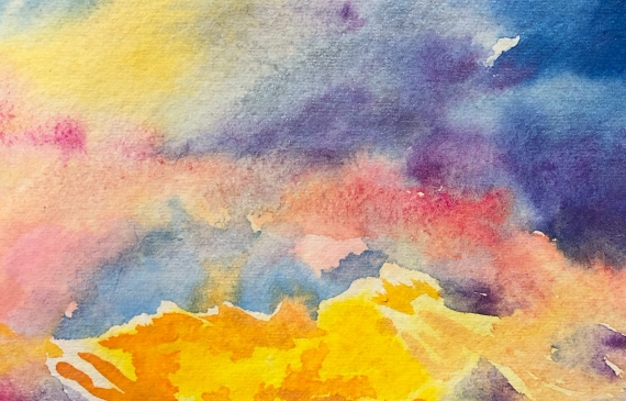 Painting of formless clouds at sunset