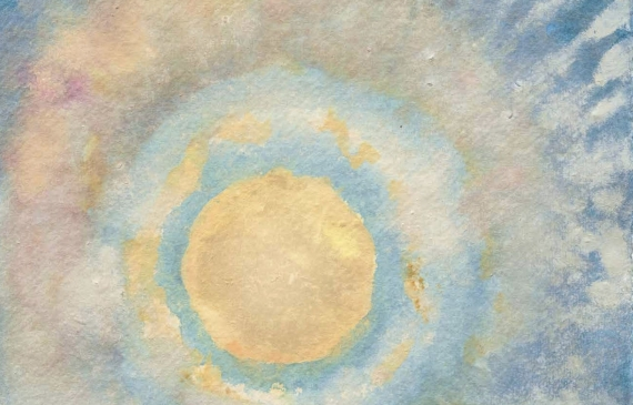 Abstract painting of the sun peering through a cloud