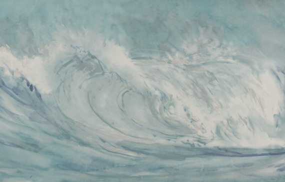 Watercolor painting of a single cresting wave